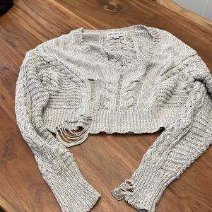 Wild fox xsm crop distressed sweater